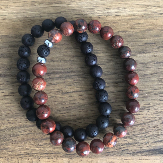 Couples Distance Bracelets male Black Lava Stone Beads bracelet female redstone wood beads - JW2 image