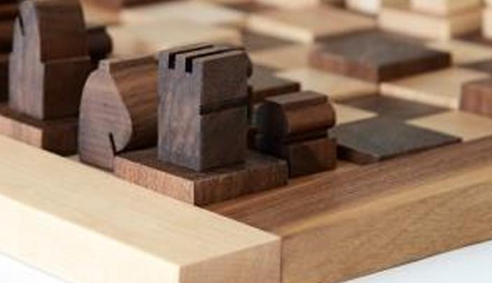wood 3d chess board